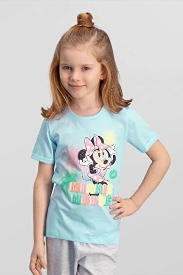 Mickey Mouse Mickey & Minnie Mouse Lisanslı Mavi Kız Çocuk T-Shirt Mavi